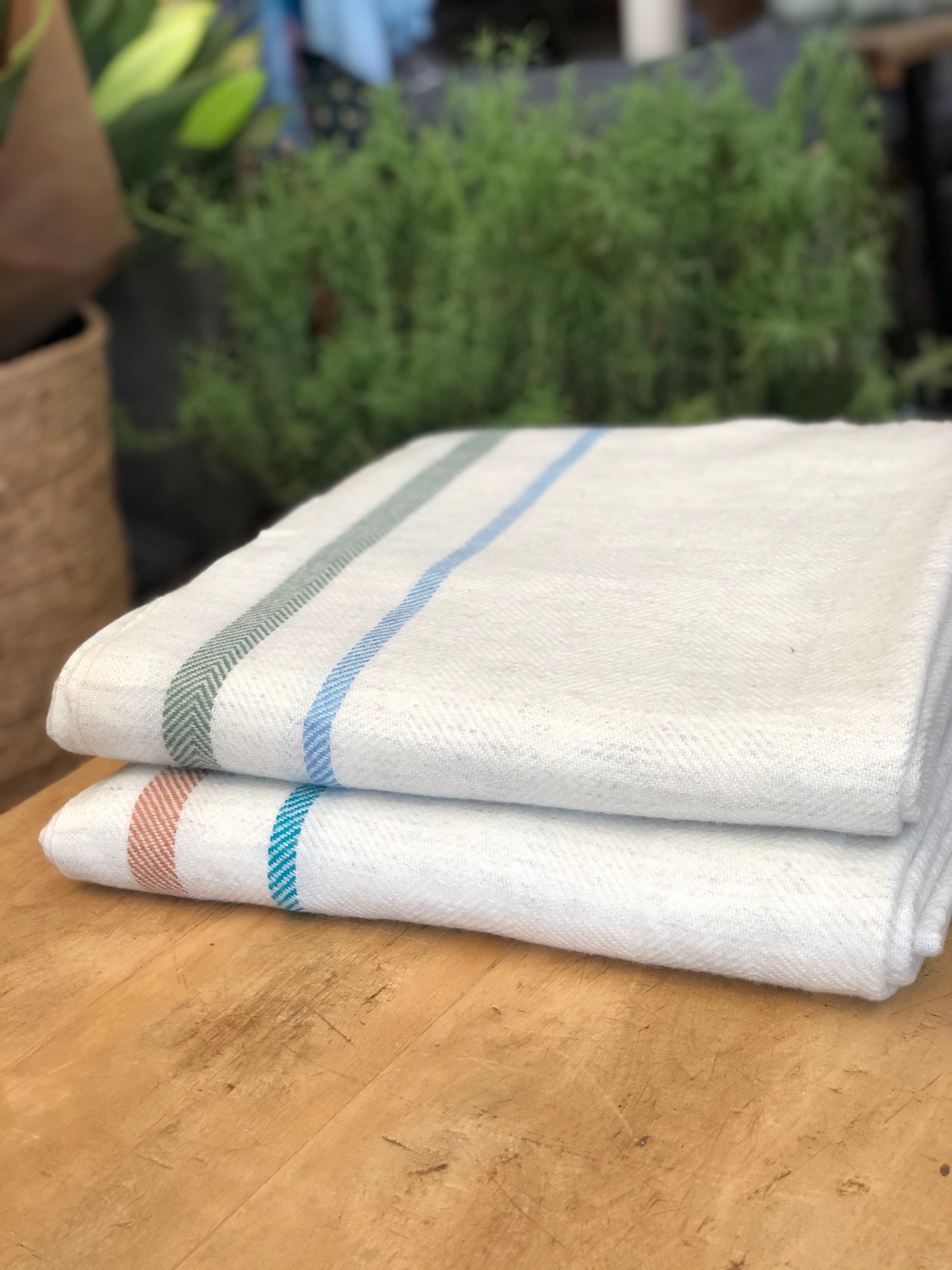 Cashmere and Wool Blanket - Natural with sage & sky stripe