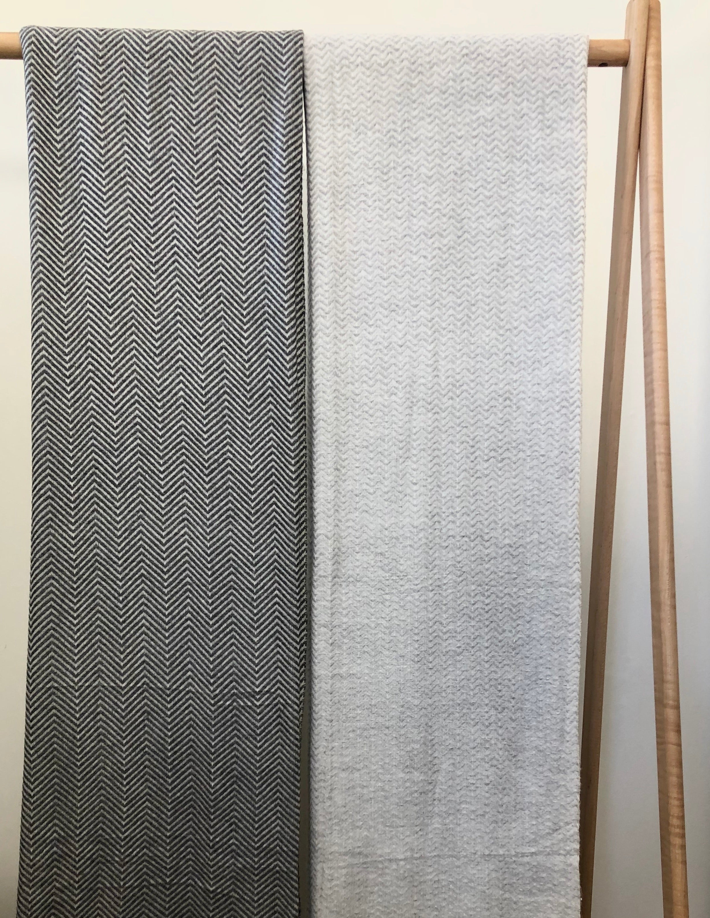 Cashmere and Wool Blanket - Smoke Grey Herringbone