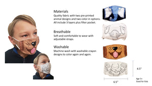 Kids Animal Face Masks, Pre-Printed and Color Your Own 4pc
