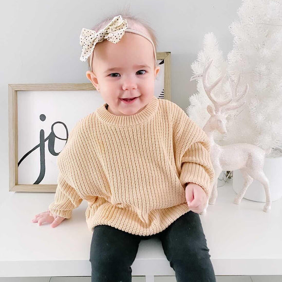 Chunky Knit Sweater | Almond - Emi and Jo Baby
