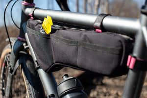 Dyed in the Wool ( DITW ) half frame bag with waterproof zips. fitted to a gravel adventure bike.