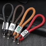 🔥(BUY 1 GET 1 AT 50% OFF)-Leather Weave Car Logo Car Key Chain