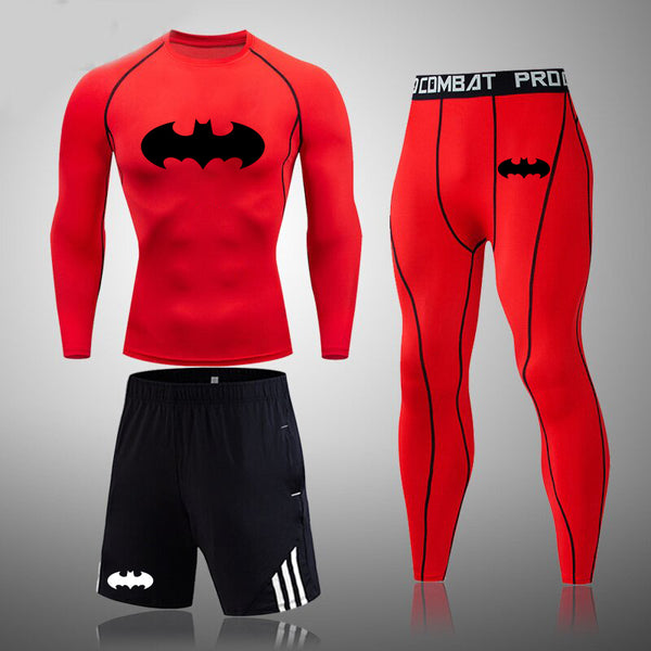 Men's fitness suit Batman tight compression underwear and quick-drying pantyhose.(3 in 1)