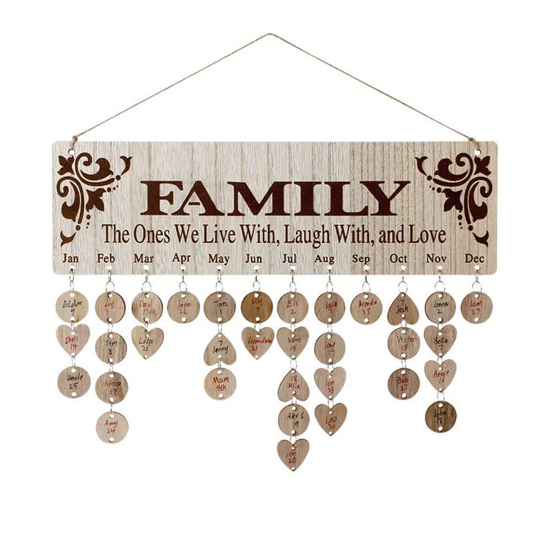 Gifts for Moms Dads - Wooden Family Birthday Reminder Calendar Board(Buy 3 pieces free shipping)