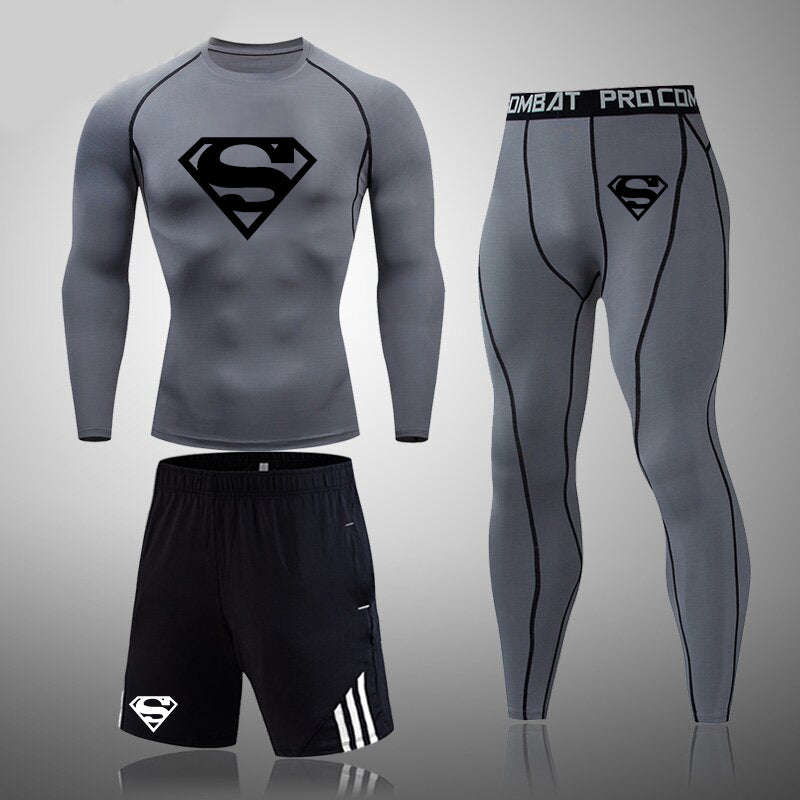 Men's fitness suit SuperMan tight compression underwear and quick-drying pantyhose.(3 in 1)