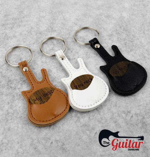 【Buy 2 Get 1 Free】Beautiful Customized Wood Pick + Guitar Keychain Holder