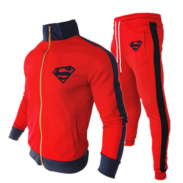 Superman Zipper Stand Collar Sportwear Tracksuit