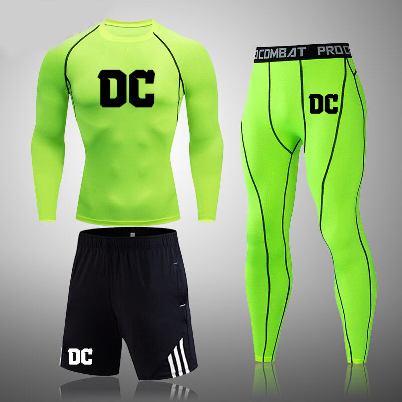 Men's fitness suit DC tight compression underwear and quick-drying pantyhose.(3 in 1)