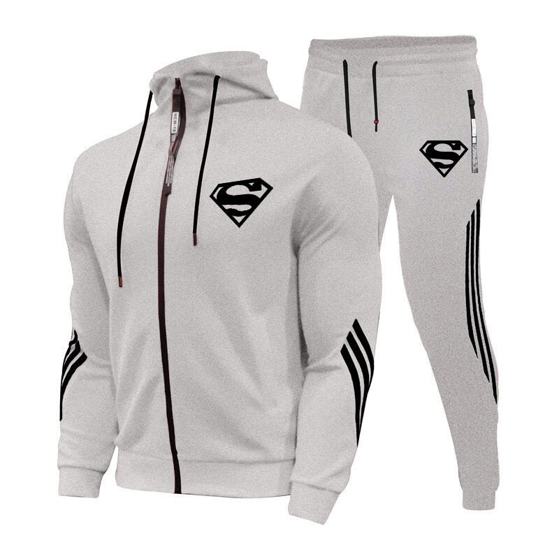 Men's Casual Sportswear superman Stand Sweatshirt Pants & Coat Tracksuit Suits