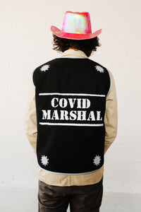 Covid Marshal Long Black Reflective Vest