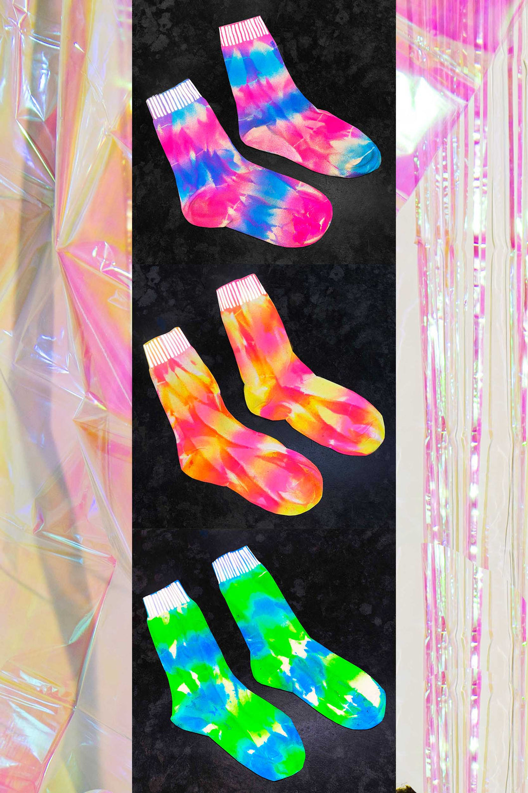 Mix pack of 3 - Tie-Dye Reflective Hemp Socks