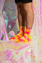 Load image into Gallery viewer, Fluro Yellow/Pink Tie-Dye Reflective Hemp Socks.