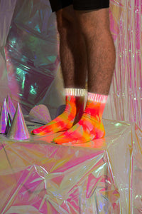 Fluro Yellow/Pink Tie-Dye Reflective Hemp Socks.