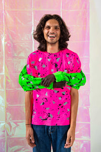 Pink Spatter HIVIS Reflective T Shirt - Short Sleeved / Long Sleeved