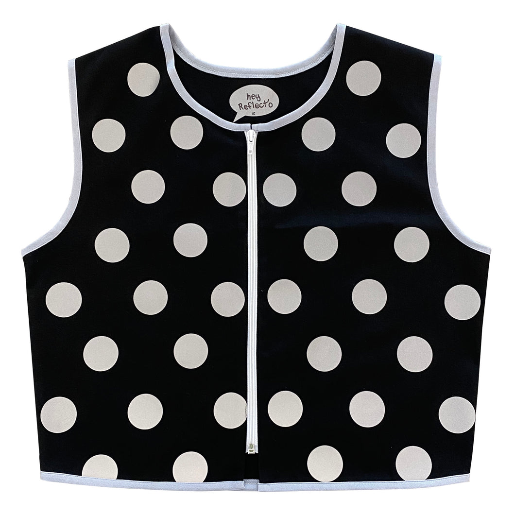 Black Polka Dot Reflective Vest - Cotton Drill
