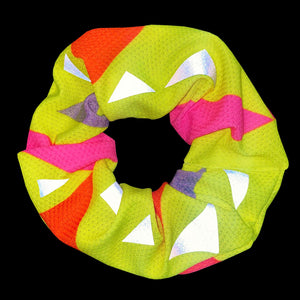 Yellow Triangle Reflective Scrunchy