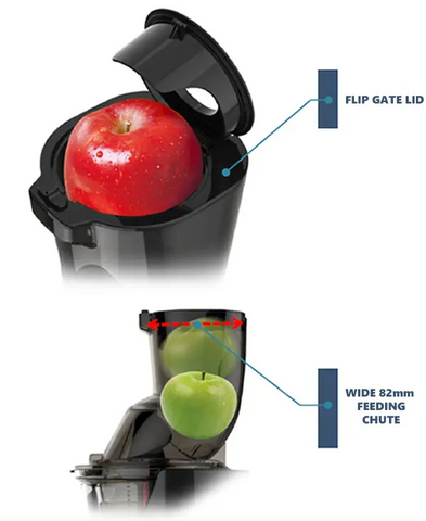 Kuvings Wide Feeding Chute Illustration with Apple