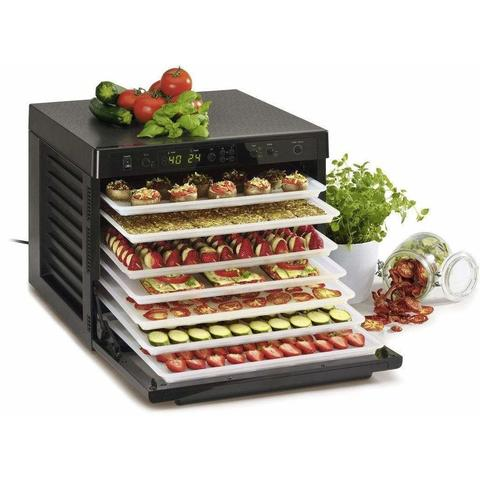 Food Dehydrator black with fresh fruit on trays