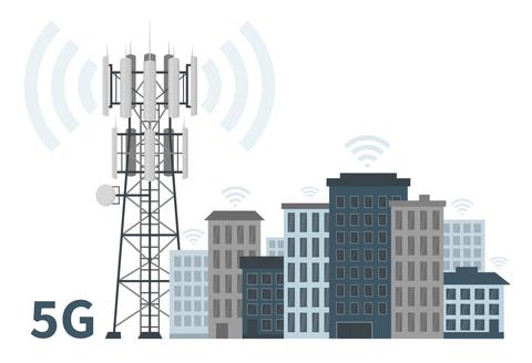 5G Cell tower Emitting EMF in City Block