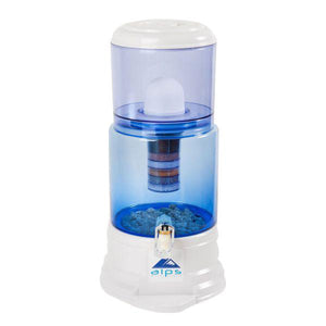 Alps Gravity Fed Water Filter 18 Litre Glass (White / Blue) - Detox Crew