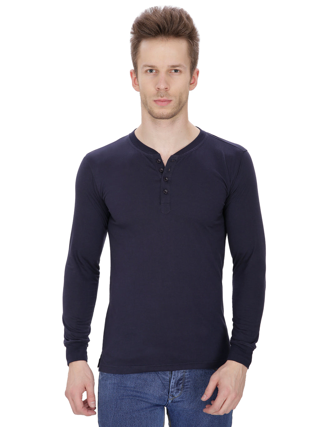 Pintapple Men's Cotton Long Sleeve Henley T-Shirt