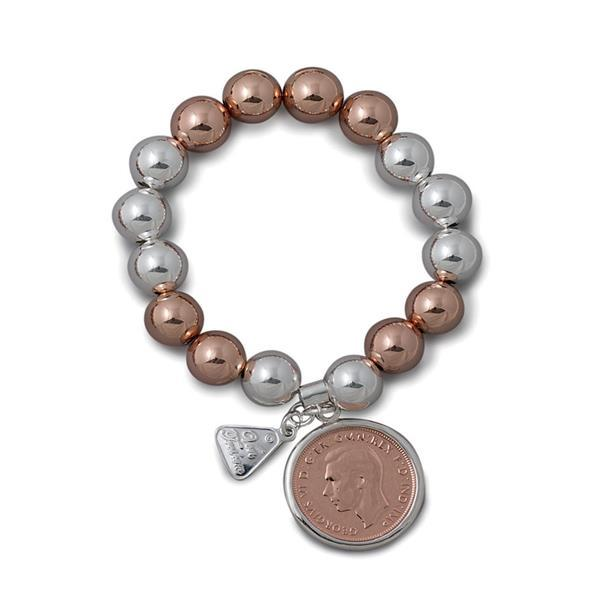 12mm sterling silver & rose 2 tone ball bracelet with Authentic 2 Tone Half Penny- Von Treskow