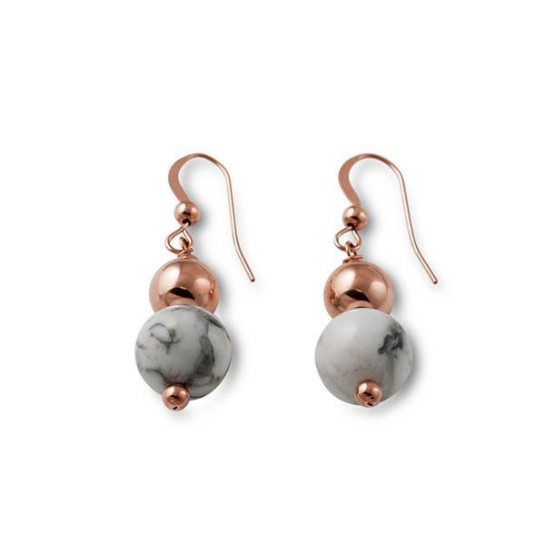 14k rose gold filled & howlite double ball hook earrings (10mm x 8mm) - Von Treskow