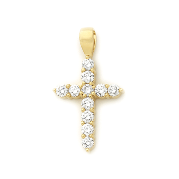 18ct Gold Claw Set Cross Pendant