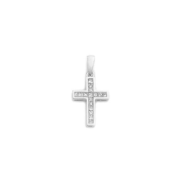 18ct Gold Princess Cut Cross Pendant