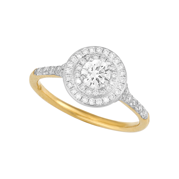 18ct Gold Round Brilliant Cut Double Halo Engagement Ring