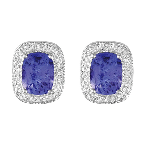 18ct White Gold Tanzanite & Diamond Earring