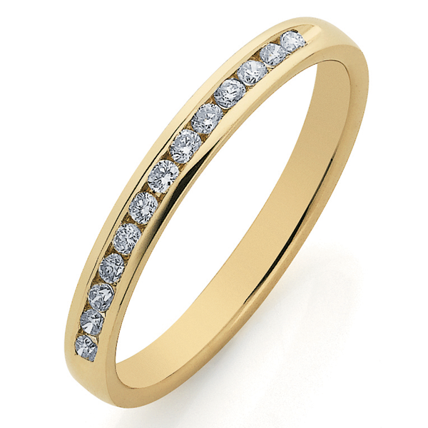 9ct Gold Diamond Channel Set Band