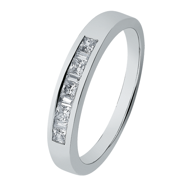 9ct White Gold Princess-Cut & Baguette Diamond Band