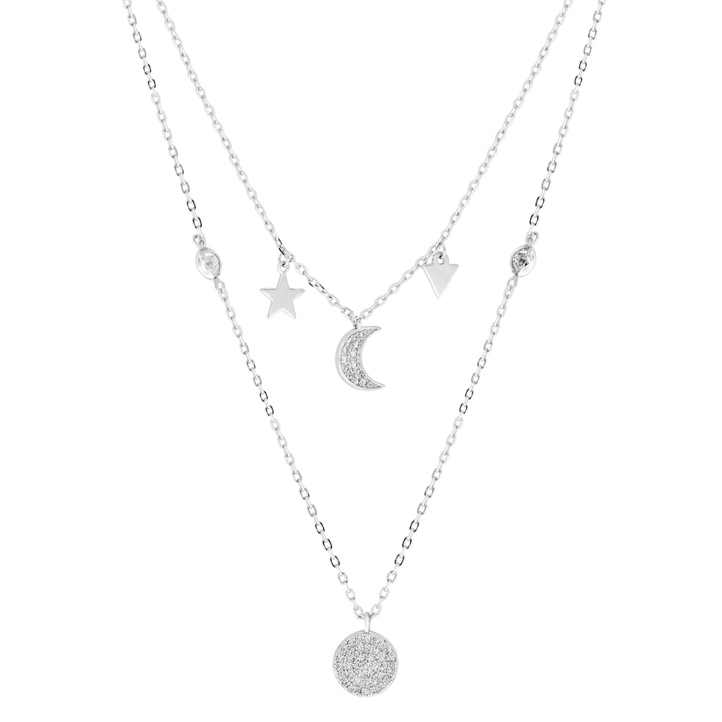 Sterling Silver and Cubic Zirconia Moon and Star Layered Necklace