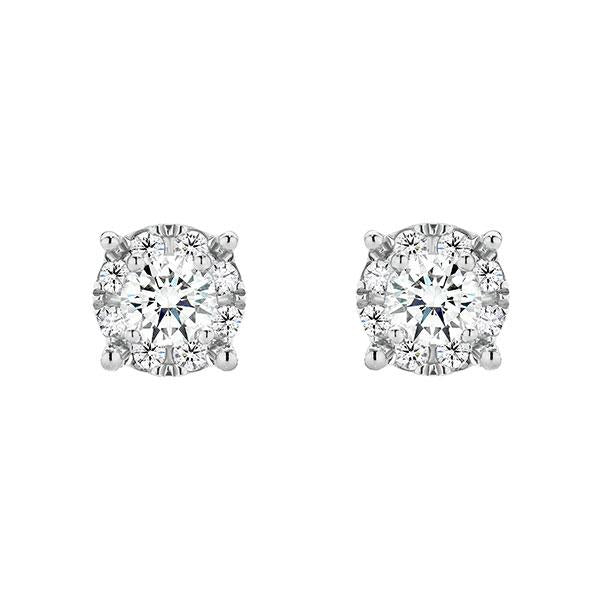 Temptation 9Ct White Gold Illusion Set Earrings