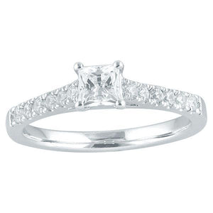 DDS -Semi Mount -18ct F VS2 - PRINCESS CUT - 6 CLAW WITH DIAMOND SHOULDERS