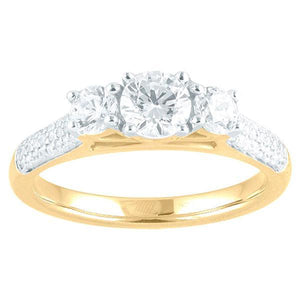 DDS -Semi Mount -18ct G SI2 - RBC - THREE STONE WITH DOME PAVE DIAMOND SHOULDERS