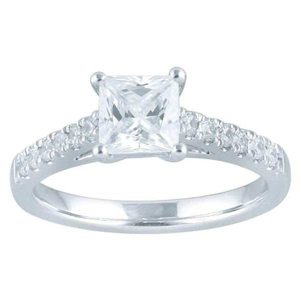 DDS -Semi Mount -18ct I P1 - PRINCESS CUT - 6 CLAW WITH DIAMOND SHOULDERS