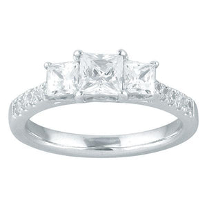 DDS -Semi Mount -18ct I P1 - PRINCESS CUT - THREE STONE WITH DIAMOND SHOULDERS