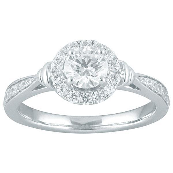 DDS -Semi Mount -9ct F VS2 - RBC - WITH HALO & PINCHED DIAMOND SHOULDERS
