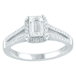 DDS -Semi Mount -9ct F VS2 EMERALD CUT WITH HALO & SPLIT DIAMOND SHOULDERS