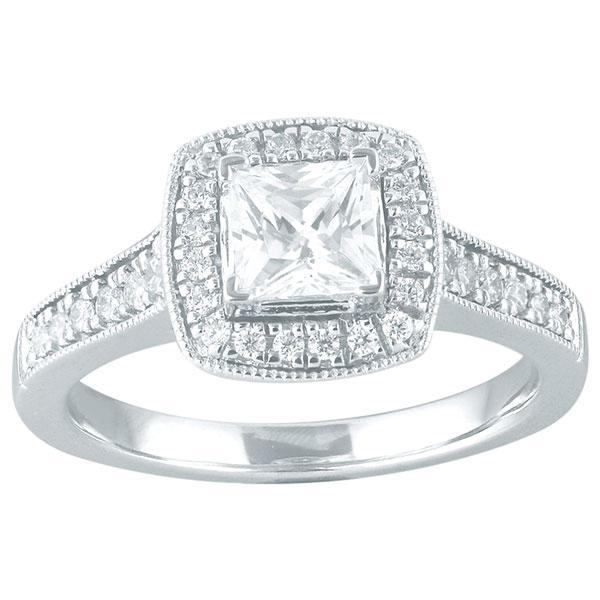 DDS -Semi Mount -18ct I P1 - PRINCESS CUT - WITH HALO & DIAMOND SHOULDERS