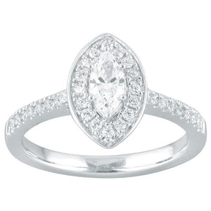 DDS -Semi Mount -9ct F VS2 MARQUISE SHAPE WITH HALO & DIAMOND SHOULDERS