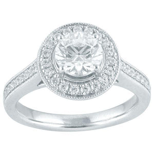 DDS -Semi Mount -9ct G SI2 - RBC - WITH HALO & DIAMOND SHOULDERS