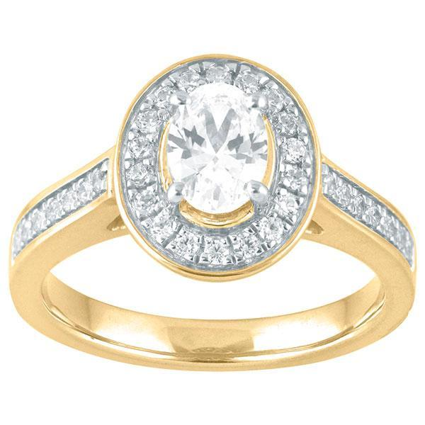 DDS -Semi Mount -9ct F VS2 OVAL SHAPE WITH HALO & DIAMOND SHOULDERS
