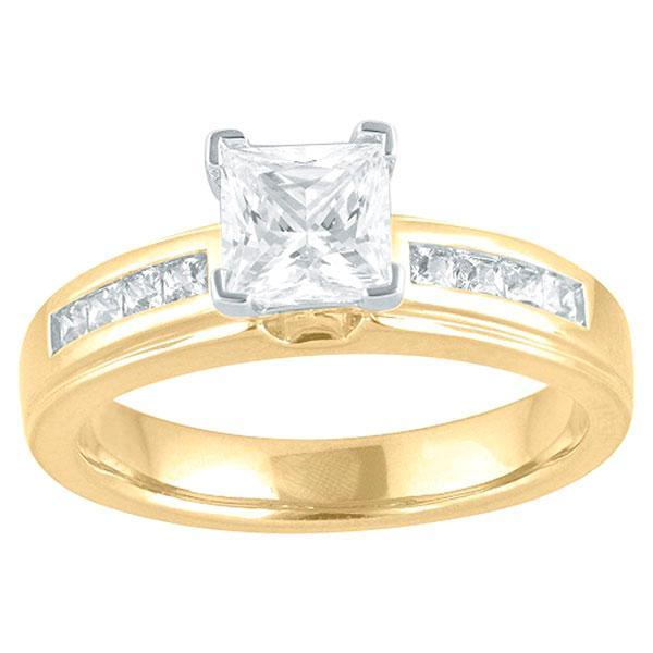 DDS -Semi Mount -9ct G SI2 - PRINCESS CUT - 'V' CLAW WITH CHANNEL - PRINCESS CUT - DIAMOND SHOULDERS