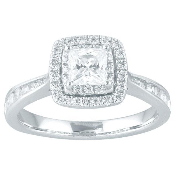 DDS -Semi Mount -9ct I P1 - PRINCESS CUT - DOUBLE HALO WITH DIAMOND CHANNEL SET SHOULDERS