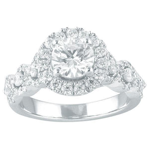 DDS -Semi Mount -18ct F VS2 - RBC - WITH HALO & FANCY DIAMOND SHOULDERS