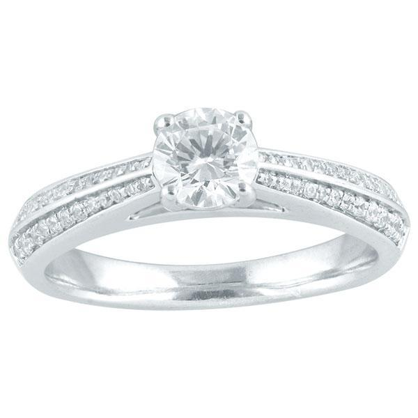 DDS -Semi Mount -18ct F VS2 CUSHION SHAPE WITH HALO & DIAMOND TRILOGY FEATURE SHOULDERS