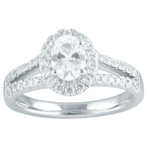 DDS -Semi Mount -9ct I P1 OVAL SHAPE WITH HALO & SPLIT DIAMOND SHOULDERS